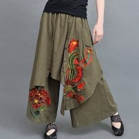 Casual pants Black, army green Average size Spring 2020 trousers Wide leg pants Natural waist commute routine 35-39 years old 91% (inclusive) - 95% (inclusive) hemp ethnic style Embroidery Asymmetry
