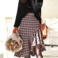 skirt Winter 2017 S M L Orange mix orange stock Middle-skirt Ruffle Skirt lattice 51% (inclusive) - 70% (inclusive) acrylic fibres