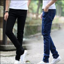 Jeans Youth fashion Others 28,29,30,31,32,33,34 Pure black pants, pure blue pants Thin money Micro bomb Regular denim trousers Other leisure autumn teenagers Medium low back Slim feet tide 2015 Pencil pants zipper Washing, hanging dyeing Five bags Washing, hanging dyeing