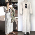 Dress Summer 2016 white XS,S,M,L,XL longuette singleton  elbow sleeve Sweet V-neck High waist Solid color Socket Type A Embroidery