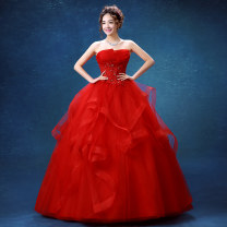 Dress / evening wear Wedding, adulthood, party, company annual meeting, performance gules grace middle-waisted Fluffy skirt Chest type Bandage Colored yarn 18-25 years old Sleeveless Nail bead