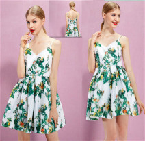 Dress Spring 2016 White printing S,M,L Short skirt singleton  Sleeveless Sweet V-neck High waist Broken flowers zipper Princess Dress camisole 18-24 years old Type A Backless, printed More than 95% polyester fiber princess