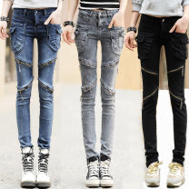 Jeans Autumn of 2019 Blue, black, gray, red 26,27,28,29,30,31,32 trousers low-waisted Haren pants routine 18-24 years old Make old, fold, wash, white, zipper, button, multi pocket, metal decoration Cotton elastic denim Dark color