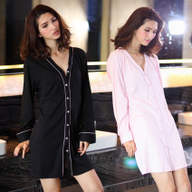 Pajamas / housewear set female Other / other Under XS * 110kg, s * 110-125kg, m * 125-140kg Black, pink cotton Long sleeves sexy pajamas spring routine V-neck Solid color Front buckle youth one-piece garment 81% (inclusive) - 95% (inclusive) Knitted cotton fabric One piece 220g Short skirt