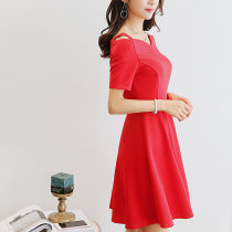 Dress Spring of 2018 Red black SMLXLXXL Short skirt singleton  Short sleeve commute other High waist Solid color Socket Others 25-29 years old Caidaifei Korean version 221RX Polyester fiber 94.9% polyurethane elastic fiber (spandex) 5.1%