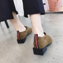 Low top shoes 35 36 37 38 39 40 Other / other Khaki black Square head Square heel Suede Deep mouth Low heel (1-3cm) Superfine fiber Winter 2017 Frenulum Mori Adhesive shoes Youth (18-40 years old) Solid color rubber Block shoes Cross strap heel Microfiber skin daily suede