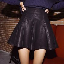 skirt Autumn 2016 XS,S,M,L,XL Black, gift collection Short skirt commute High waist A-line skirt Solid color Type A 18-24 years old other Other / other PU Pleated, zipper Korean version 161g / m ^ 2 (including) - 180g / m ^ 2 (including)