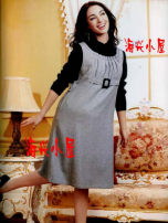 Dress Kissbb grey M,L,XL Japanese  Long sleeves routine winter High collar Abstract pattern Pure cotton (95% and above)