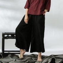 Casual pants Green, black Average size Autumn 2016 Ninth pants Wide leg pants Natural waist commute routine 31% (inclusive) - 50% (inclusive) A19 Original animal products hemp literature pocket