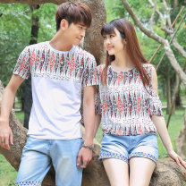 T-shirt white Male M170 male L175 male xl180 male xxl185 female s155 female M160 female l165 female xl170 Summer of 2019 Short sleeve Crew neck Self cultivation Regular Wrap sleeves commute Viscose 96% and above 18-24 years old Korean version love Mosaic of plant flowers Ensun  Splicing