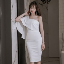 Dress Summer of 2019 White, black S,M,L Mid length dress singleton  commute Slant collar High waist Solid color zipper Pencil skirt Lotus leaf sleeve Others 18-24 years old Korean version Ruffle, open back, fold, stitching, zipper