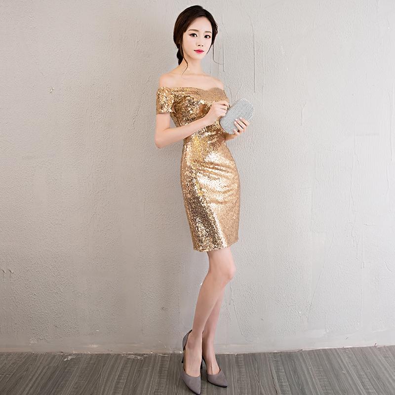 Dress / evening wear Ежегодная дата проведения праздничной вечеринки XSSMLXLXXL обычай не возвращается +20 Изображение золотого розового золота мода