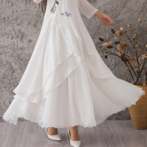 skirt Autumn 2016 Average size white longuette Versatile Natural waist A-line skirt Type A 71% (inclusive) - 80% (inclusive) Chiffon Munan nylon