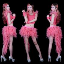 National costume / stage costume Summer 2015 Blue top + white swallow tail skirt, dark blue, fluorescent green, pink One size elastic fabric 18-25 years old