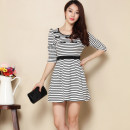 Dress Spring of 2018 Black and white S,M,L Short skirt singleton  three quarter sleeve Sweet Crew neck High waist stripe zipper Big swing puff sleeve 18-24 years old Other / other Bowknot, stitching, three-dimensional decoration JAF12216 More than 95% knitting polyester fiber princess