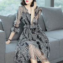 Dress Spring of 2018 stripe SMLXLXXLXXXL Mid length dress Two piece set elbow sleeve commute V-neck middle-waisted stripe Socket Big swing Lotus leaf sleeve Others 25-29 years old Type X Ajido Korean version Lace up with ruffle A0166 Chiffon Other 100% Pure e-commerce (online only)