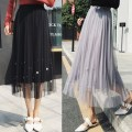 skirt Spring of 2019 Average size Apricot, grey, black, pink Mid length dress Versatile High waist Pleated skirt Solid color Type A 18-24 years old 31% (inclusive) - 50% (inclusive) Lace Other / other cotton