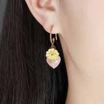 Earrings Alloy / silver / gold 51-100 yuan Colorful butterfly 24K gold ear hook brand new female ethnic style goods in stock Fresh out of the oven Not inlaid Plants and flowers Two hundred and twenty-five