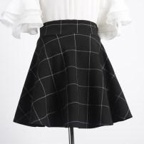 skirt Autumn 2016 Short skirt Versatile Natural waist Pleated skirt lattice Type A 30% and below other nylon 401g / m ^ 2 (inclusive) - 500g / m ^ 2 (inclusive)