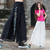 Casual pants White, black Average size Spring 2021 trousers Wide leg pants Natural waist commute routine 25-29 years old 96% and above other Retro Embroidery