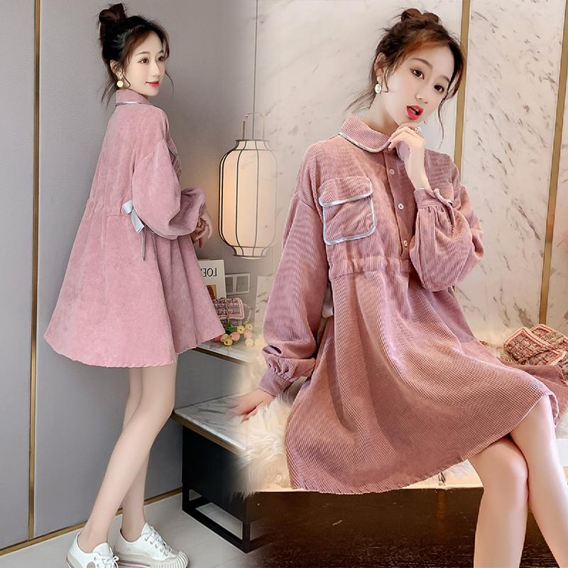 Dress Other / other Pink dress, dress with black panties, dress with grey panties L,M,XL,XXL Korean version Long sleeves Medium length spring Lapel Solid color corduroy