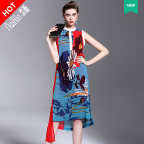Dress Summer 2016 Picture color more color, please consult customer service 145/72/XXS 150/76/XS 155/80/S 160/84/M 165/88/L 170/92/XL Mid length dress singleton  Sleeveless Sweet stand collar middle-waisted Big flower Three buttons One pace skirt routine Others 35-39 years old T-type Naixin other