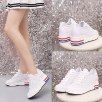 Low top shoes 35 36 37 38 39 40 Other / other White 1 white Round head Internal elevation PU Deep mouth High heel (5-8cm) Netting Summer of 2018 Frenulum Korean version Adhesive shoes Youth (18-40 years old) middle age (40-60 years old) Solid color rubber Net shoes cloth daily Embossing