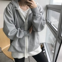 Sweater / sweater Spring of 2018 Black, light grey One size fits all (about 12 days), one size fits all spot Long sleeves routine Cardigan singleton  Plush Hood easy street routine Solid color 35-39 years old 96% and above cotton cotton Intradermal bile duct zipper Europe and America