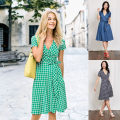 Dress Summer 2017 Dark blue plaid, green plaid, denim 8L,12L,10P,6P,8R,14R,22L,12R,14L,14P,16R,10R,16L,8P,18R,10L,20R,18L,20L,12P,6R Middle-skirt singleton  Short sleeve commute V-neck High waist zipper other Others 25-29 years old Type A BD Britain bow More than 95% cotton