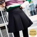 skirt Spring 2021 black Short skirt Versatile High waist Fluffy skirt Solid color Type A 31% (inclusive) - 50% (inclusive) brocade cotton Zipper, stitching