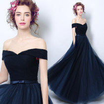 Dress / evening wear Annual meeting performance of wedding and adult party company XSSMLXLXXLXXXL navy blue Korean version longuette middle-waisted Autumn 2016 Fall to the ground One shoulder Bandage 18-25 years old three thousand three hundred and ten Princess tribe