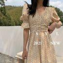 Dress Summer 2020 Light yellow, light blue Average size Short sleeve square neck puff sleeve Type X