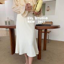 skirt Spring 2021 S,M,L White, black, light blue Short skirt Versatile High waist A-line skirt Solid color 91% (inclusive) - 95% (inclusive) cotton