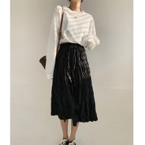 skirt Winter 2020 S,M,L Black, brown longuette commute High waist Pleated skirt Solid color Type A 18-24 years old More than 95% Chiffon polyester fiber fold Retro