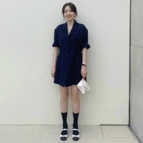 Dress Summer 2021 Navy Blue S,M,L,XL Short skirt singleton  Short sleeve commute V-neck High waist Solid color Single breasted A-line skirt routine 18-24 years old Type A Simplicity Button 31% (inclusive) - 50% (inclusive) polyester fiber