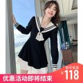 Women's large Autumn 2020 Black dress Large L, large XL, m, s Dress singleton  Sweet Self cultivation moderate Socket Long sleeves Solid color Admiral have cash less than that is registered in the accounts polyester fiber Collage routine C1098 Tact 18-24 years old Three dimensional decoration bow