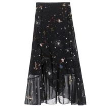 skirt Summer 2020 Collection and return insurance, high quality, average size (80-120 Jin) Starry black longuette commute High waist Irregular Broken flowers Type A 18-24 years old 71% (inclusive) - 80% (inclusive) Chiffon Other / other other bow