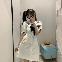 Dress Summer 2021 white S,M,L,XL Short skirt singleton  Short sleeve Sweet Admiral High waist Solid color Socket A-line skirt Flying sleeve Type A Folds, bows 30% and below other nylon college