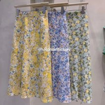 skirt Summer 2020 Average size Yellow, green, blue Mid length dress Versatile High waist A-line skirt Decor Type A 25-29 years old 71% (inclusive) - 80% (inclusive) Chiffon other printing