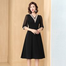 Dress Spring 2021 black 160/84A,165/88A,170/92A,175/96A,175/100A longuette singleton  Long sleeves commute V-neck middle-waisted Solid color Socket A-line skirt routine 25-29 years old Type A Story five Simplicity zipper More than 95% polyester fiber