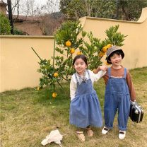 Dress blue female Other / other 90cm,100cm,110cm,120cm,130cm,140cm Cotton 90% other 10% spring and autumn Korean version Solid color cotton Lotus leaf edge 18 months, 2 years old, 3 years old, 4 years old, 5 years old, 6 years old, 7 years old, 8 years old