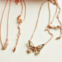 Necklace Alloy / silver / gold 30-39.99 yuan Other / other Spray Black Gold Butterfly Rose Gold feather brand new Ruili female goods in stock yes Fresh out of the oven 21cm (inclusive) - 50cm (inclusive) no Below 10 cm Alloy inlaid artificial gem / semi gem alloy Anchor / rudder / Navy style