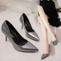 Low top shoes 35 36 37 38 39 Other / other Black dark grey off white Sharp point Fine heel PU Shallow mouth High heel (5-8cm) PU Spring of 2018 Trochanter Korean version Adhesive shoes Youth (18-40 years old) Solid color rubber Shallow mouth PU Face dressing