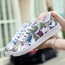 Low top shoes 36 37 38 39 40 41 42 43 44 Yaxuan Black and white white purple white yellow Round head Flat bottom PU Deep mouth Flat heel (1cm or less) cloth Summer 2017 Frenulum Sweet Adhesive shoes Youth (18-40 years old) Color matching rubber skate shoes Cross tie flower color matching Roman style