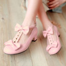 Low top shoes Other / other Beige Pink Black / boutique beige / Boutique Pink / Boutique Black Round head Thick heel PU Shallow mouth Low heel (1-3cm)