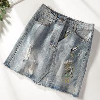 skirt Summer of 2018 S M L Blue 7267-a77 Short skirt Versatile High waist A-line skirt Decor Type A 51% (inclusive) - 70% (inclusive) polyester fiber