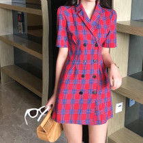 Dress Summer of 2018 Yellow red S M Short skirt singleton  Short sleeve commute tailored collar Loose waist lattice double-breasted other routine other