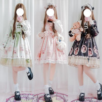 Dress Spring of 2018 Average size S M Middle-skirt other Long sleeves Sweet Doll Collar High waist other other other other camisole 25-29 years old Type A Stitched lace print 71% (inclusive) - 80% (inclusive) Lace cotton princess