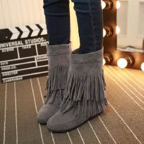 Boots PU Qianbailin Middle heel (3-5cm) Internal elevation PU Middle cylinder Round head cloth PU Fall 2017 Sleeve leisure time rubber Solid color