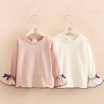T-shirt Pink white Shell element 90cm 100cm 110cm 120cm 130cm 140cm 150cm female spring and autumn Long sleeves Crew neck Korean version No model